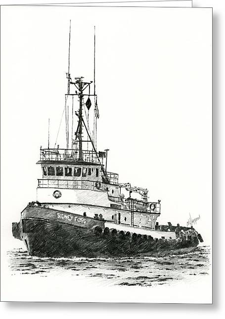 Tugboat Sidney Foss Greeting Card by James Williamson