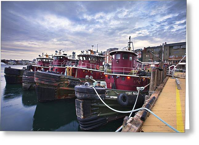 Tugboats At Dusk Greeting Card by Eric Gendron