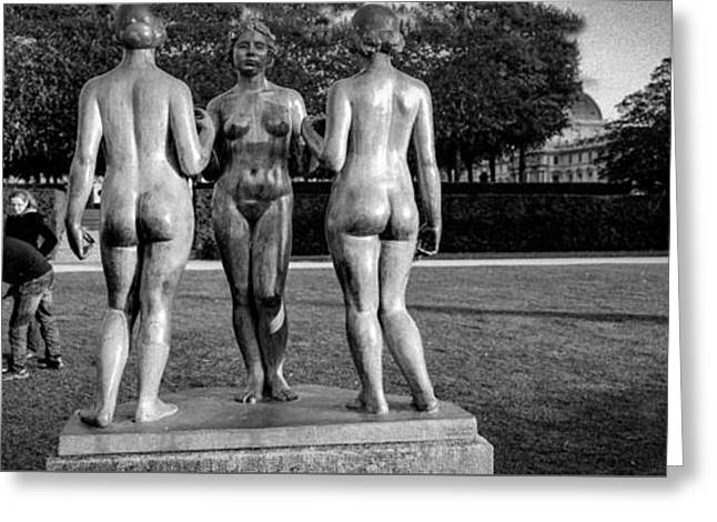 Posters Of Women Pyrography Greeting Cards - Tuileries gardens . Three woman by Maillots .  Greeting Card by Cyril Jayant
