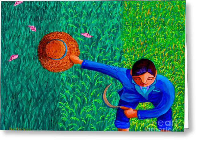Paul Hilario Greeting Cards - Tularan ang Palay Greeting Card by Paul Hilario