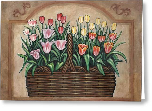 Tulip Basket Greeting Card by Linda Mears