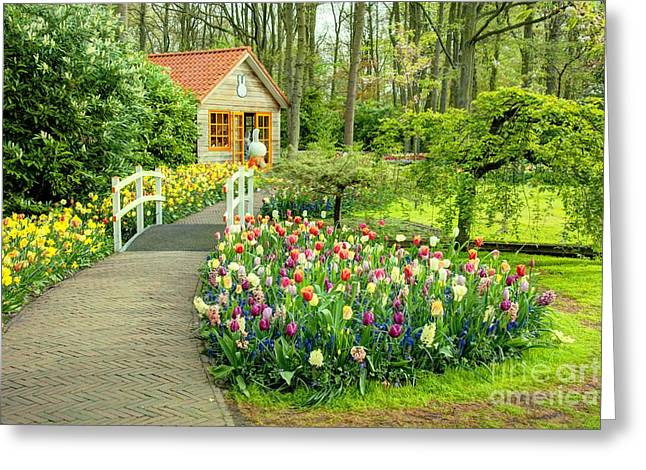 Tulip Cottage  Greeting Card by Rob Hawkins