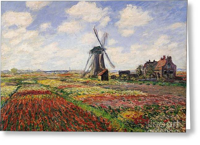 Netherlands Greeting Cards - Tulip Fields with the Rijnsburg Windmill Greeting Card by Claude Monet