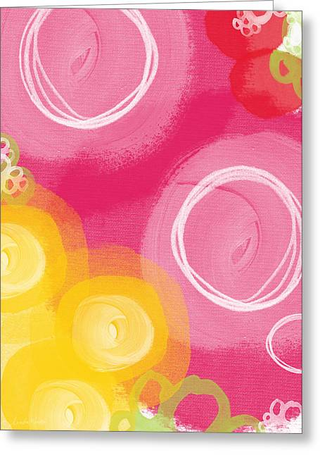 White Rose Greeting Cards - Tulip Garden- abstract floral painting Greeting Card by Linda Woods