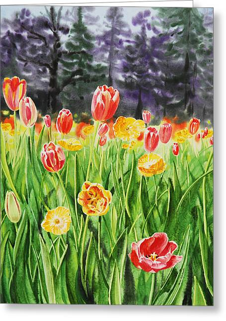 Tulip Paintings Greeting Cards - Tulip Garden in San Francisco Greeting Card by Irina Sztukowski