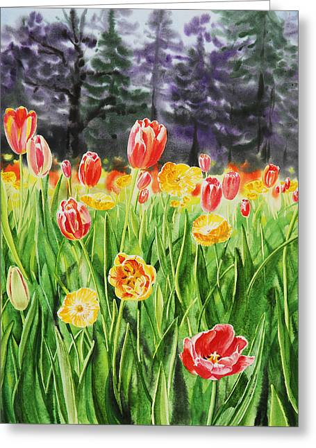 Living Room Dining Room Greeting Cards - Tulip Garden in San Francisco Greeting Card by Irina Sztukowski