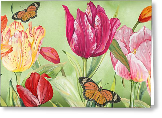 Rose Petals Greeting Cards - Tulip Garden-JP3025 Greeting Card by Jean Plout