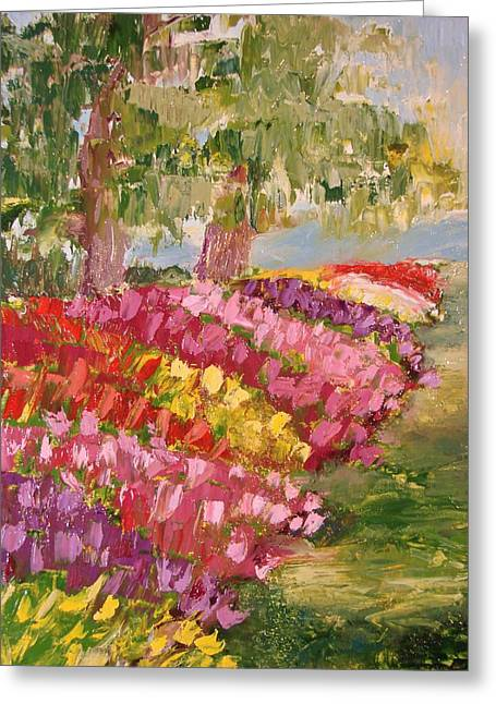 M Bobb Greeting Cards - Tulip Garden Greeting Card by Margaret Bobb
