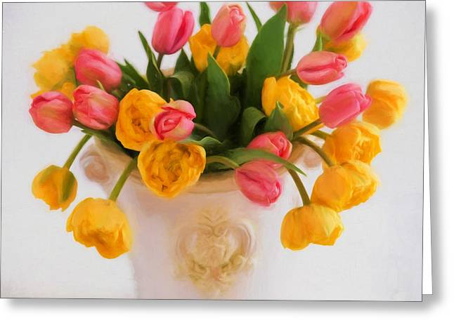 Tangerine Greeting Cards - Tulip Heaven Greeting Card by Carolyn Rauh