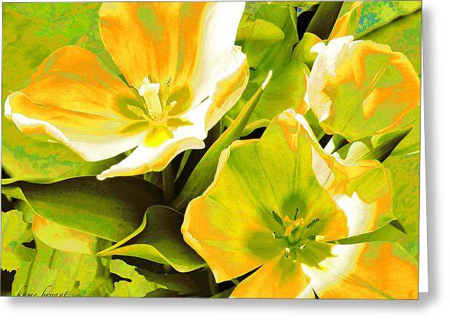 Tulip Kisses Abstract 10 Greeting Card by Kume Bryant
