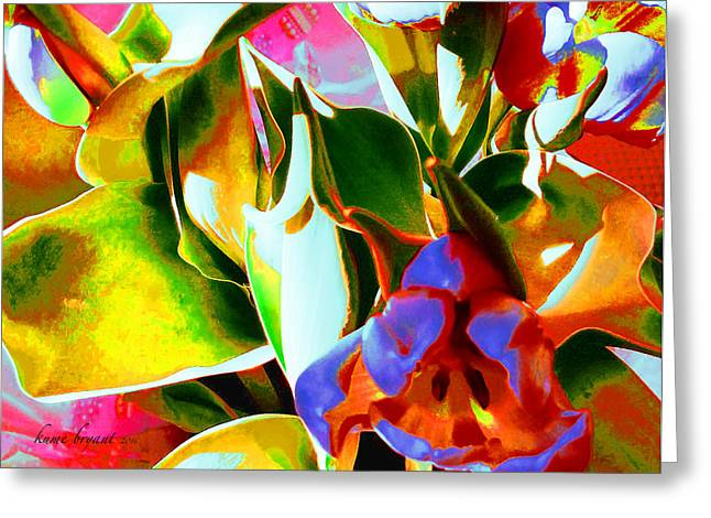 Tulip Kisses Abstract 3 Greeting Card by Kume Bryant