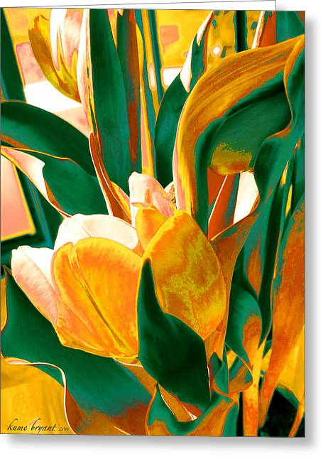 Tulip Kisses Abstract 5 Greeting Card by Kume Bryant