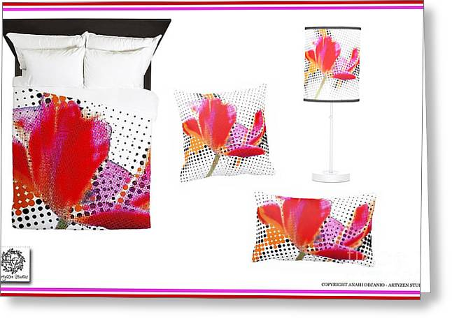 Houzz Greeting Cards - Tulip Pop Home Accessories Greeting Card by Anahi DeCanio - ArtyZen Studios