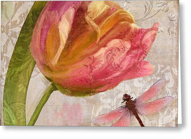 Pink Tulips Greeting Cards - Tulip Tempest I Greeting Card by Mindy Sommers