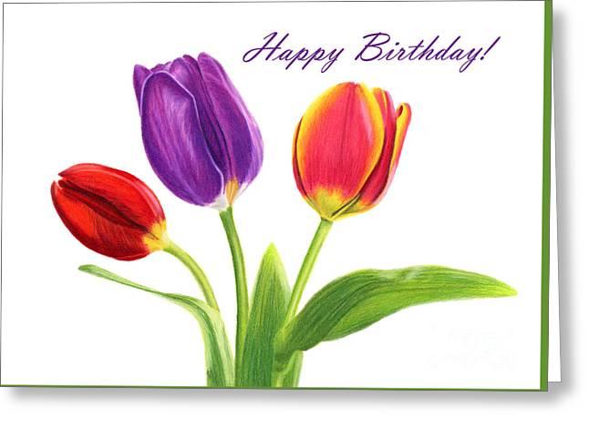 Tulip Trio- Happy Birthday Card Greeting Card by Sarah Batalka