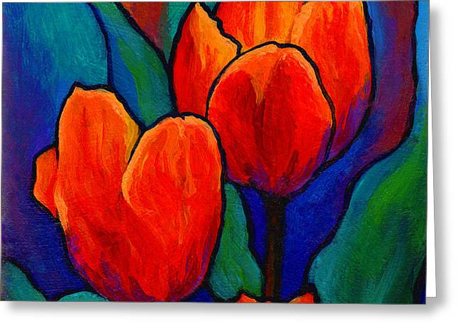 Tulip Trio Greeting Card by Marion Rose