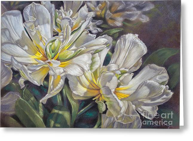 Flora Pastels Greeting Cards - Tulipomania 4 Exotic Emperor Greeting Card by Fiona Craig
