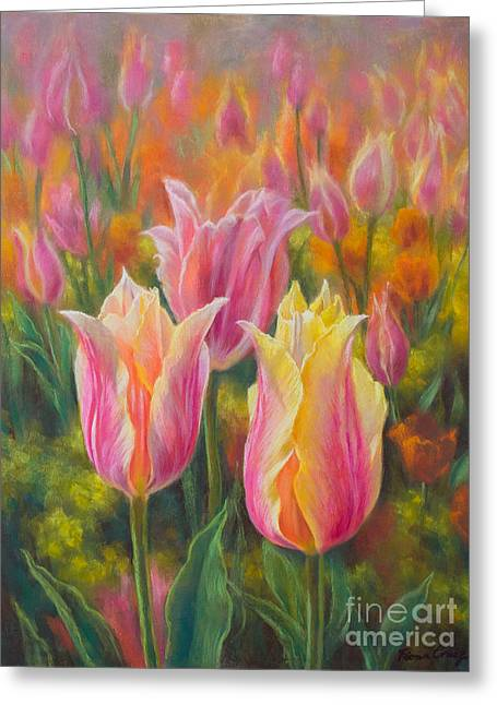 Beauty Pastels Greeting Cards - Tulipomania 6 Blushing Beauties Greeting Card by Fiona Craig
