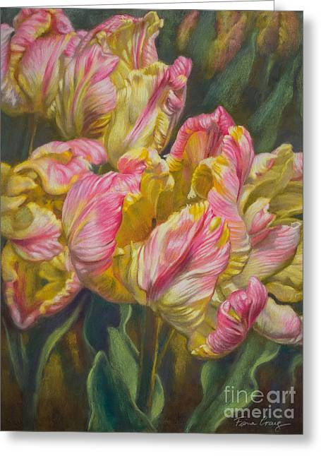 Flora Pastels Greeting Cards - Tulipomania 7 Pink and Yellow Parrots Greeting Card by Fiona Craig