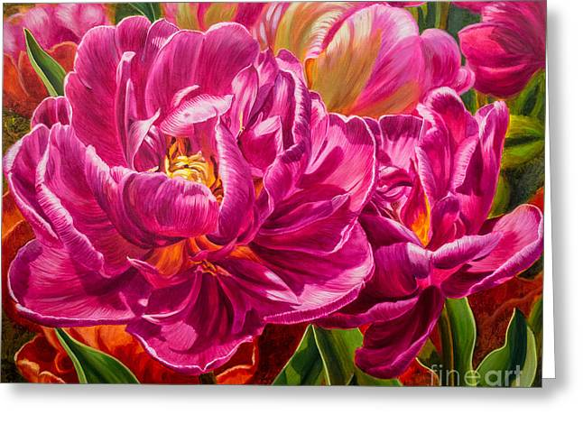 Chicago Botanic Garden Greeting Cards - Tulipomania 8 Magenta Triumph Greeting Card by Fiona Craig