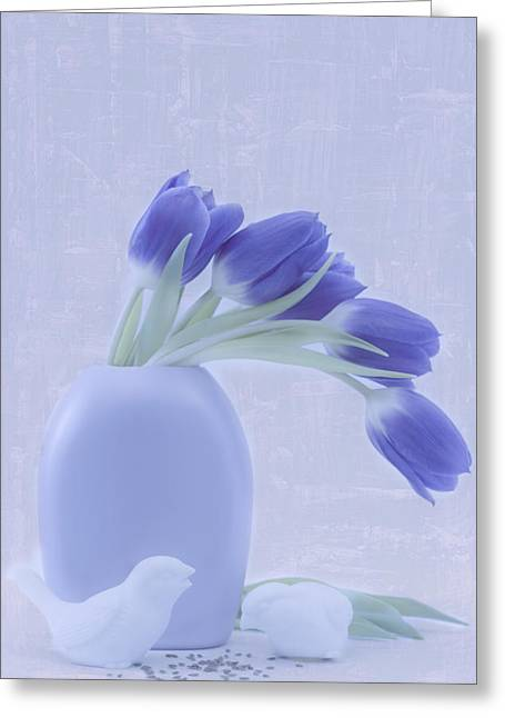 Interior Still Life Greeting Cards - Tulips And Birdies  Greeting Card by Sandra Foster