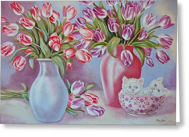 Kitten Prints Greeting Cards - Tulips and Kittens Greeting Card by Jan Law