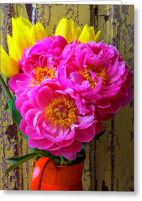 Tulips And Peony's Greeting Card by Garry Gay