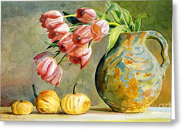 Flower Still Life Greeting Cards - Tulips and Squash Greeting Card by David Lloyd Glover