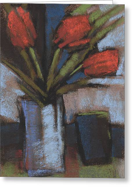 Loose Pastels Greeting Cards - Tulips and Tumbler Greeting Card by Janine Aykens