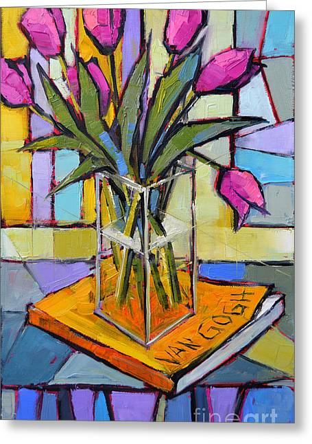 Glass Flowers And Leaves Greeting Cards - Tulips And Van Gogh - Abstract Still Life Greeting Card by Mona Edulesco