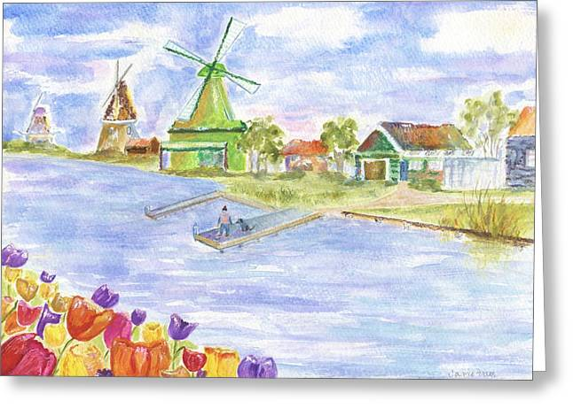Sea Animals Greeting Cards - Tulips and Windmills Greeting Card by Jamie Frier