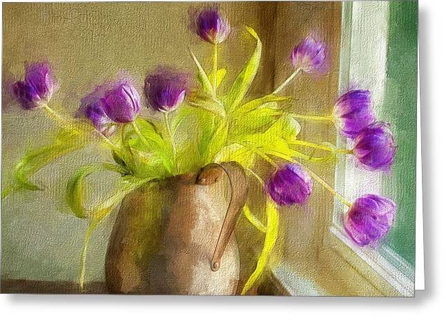 Staging Art Greeting Cards - Tulips Arrayed Greeting Card by Terry Rowe