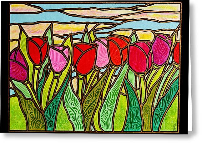 Jim Harris Greeting Cards - Tulips at Sunrise Greeting Card by Jim Harris