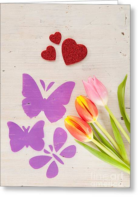 Joy Greeting Cards - Tulips butterflies and hearts as spring courier Greeting Card by Wolfgang Steiner