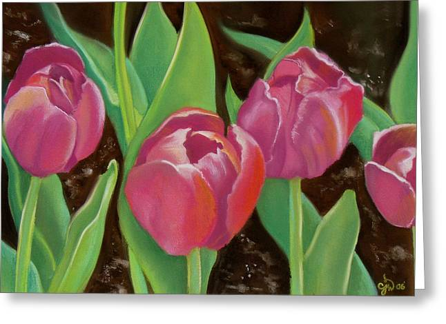 Red Leaves Pastels Greeting Cards - Tulips Greeting Card by Candice Wright