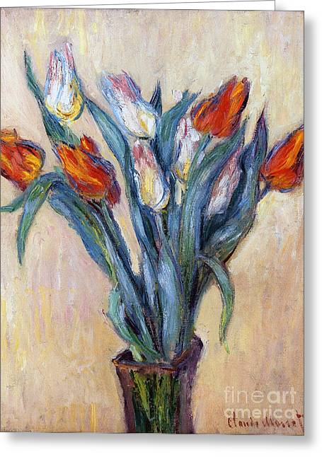 Best Sellers -  - Glass Vase Greeting Cards - Tulips Greeting Card by Claude Monet