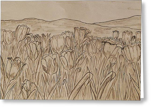 Stamen Drawings Greeting Cards - Tulips Dream sketch Greeting Card by Felicia Tica