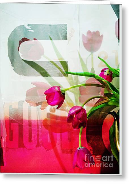 Interior Still Life Mixed Media Greeting Cards - Tulips for U - Graffiti Flowers Greeting Card by Anahi DeCanio - ArtyZen Studios
