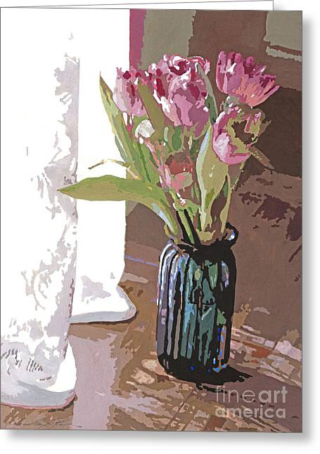 Lace Curtains Greeting Cards - Tulips in a Glass Vase Greeting Card by David Lloyd Glover