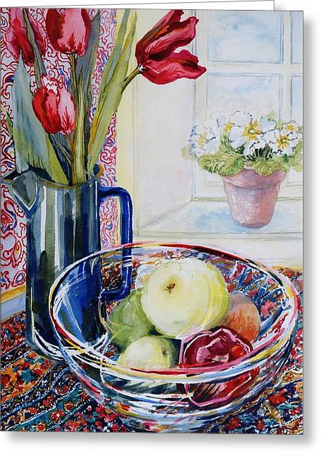 Tulips In A Jug With A Glass Bowl Greeting Card by Joan Thewsey