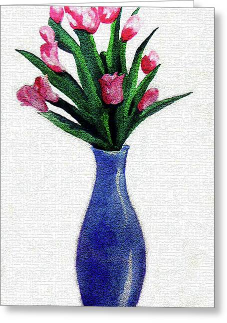 Tulips In A Tall Vase Greeting Card by Farah Faizal