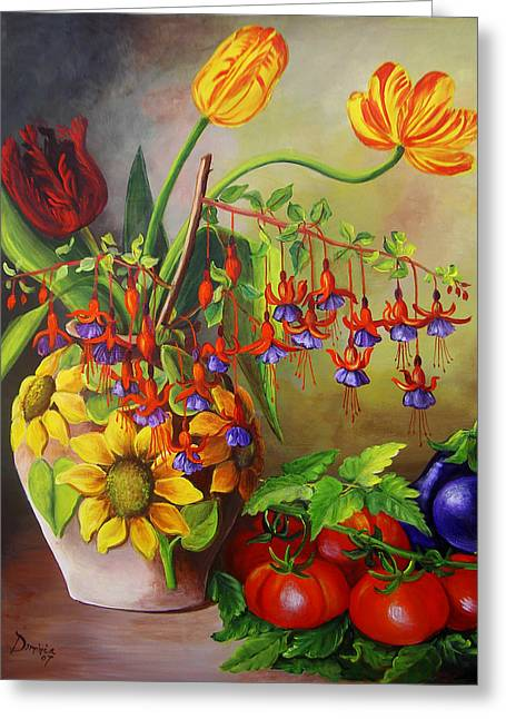 Dominica Alcantara Greeting Cards - Tulips in a Vase with some Tomatoes Greeting Card by Dominica Alcantara