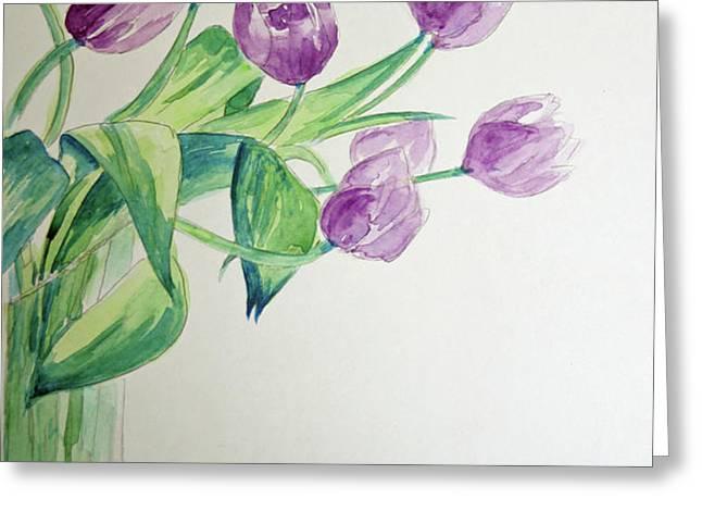 Tulips in Purple Greeting Card by Julie Lueders