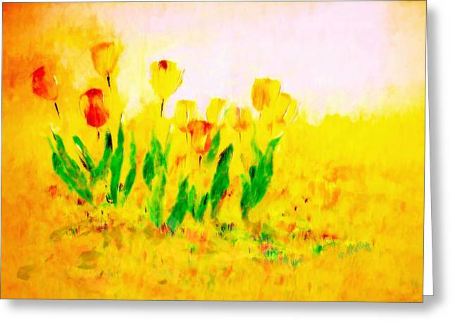Valerie Anne Kelly Art Greeting Cards - Tulips in Springtime Greeting Card by Valerie Anne Kelly