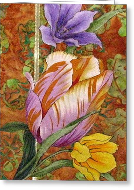 Blooms Tapestries - Textiles Greeting Cards - Tulips in the field Greeting Card by Judy Sauer