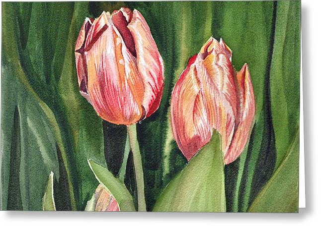 Landscape. Scenic Paintings Greeting Cards - Tulips  Greeting Card by Irina Sztukowski
