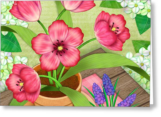 Tulips On A Spring Day Greeting Card by Valerie Drake Lesiak