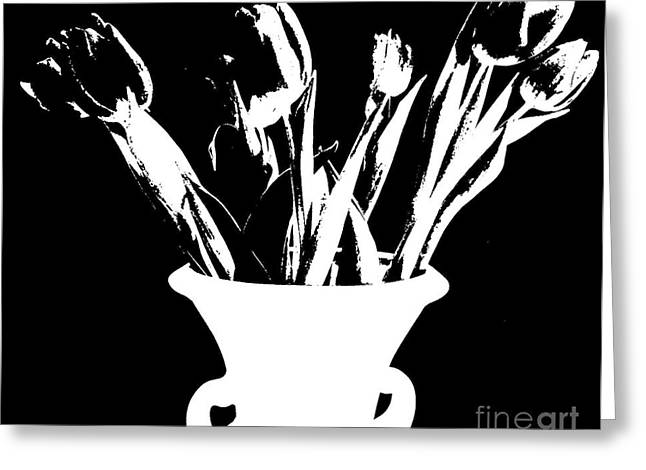Tulips On Black Greeting Card by Marsha Heiken