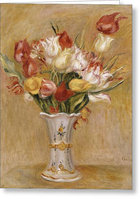Red And White Greeting Cards - Tulips Greeting Card by Pierre Auguste Renoir