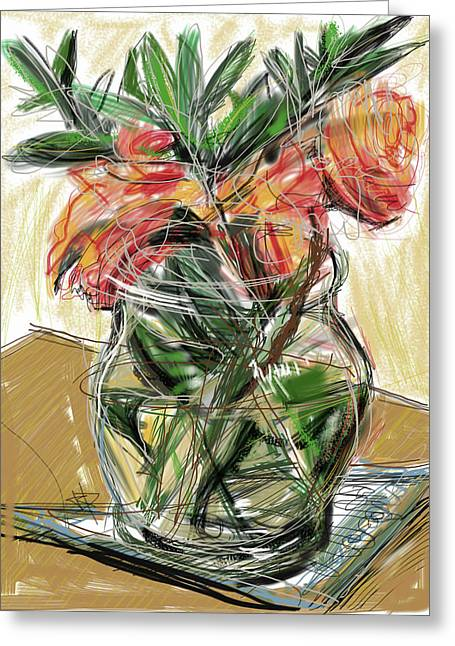 Glass Table Reflection Mixed Media Greeting Cards - Tulips Greeting Card by Russell Pierce